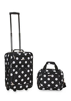 Rockland 2 Piece Luggage Set - Black Dot