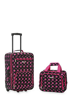 Rockland 2 Piece Luggage Set - Black Pink Dot