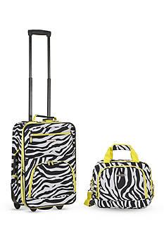 Rockland 2 Piece Luggage Set - Lime Zebra