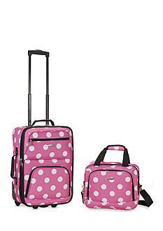 Rockland 2 Piece Luggage Set - Pink Dot