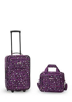 Rockland 2 Piece Luggage Set - Purple Leopard