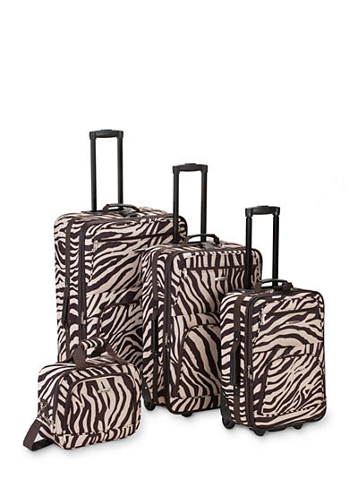 Rockland 4 Piece Printed Luggage Set - Brown Zebra
