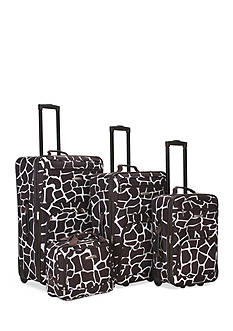 Rockland 4 Piece Printed Luggage Set - Giraffe