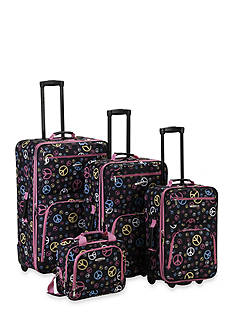Rockland 4 Piece Printed Luggage Set - Peace