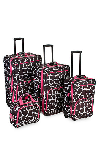 Rockland 4 Piece Printed Luggage Set - Pink Giraffe