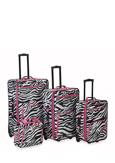 Rockland 4 Piece Printed Luggage Set - Pink Zebra