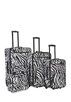 Rockland 4 Piece Printed Luggage Set - Black Zebra