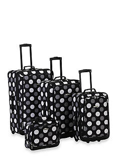 Rockland 4 Piece Printed Luggage Set - Black Dot