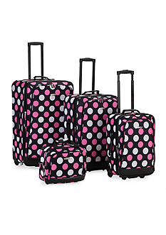 Rockland 4 Piece Printed Luggage Set - Pink Dot