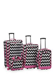 Rockland 4-Piece Printed Luggage Set - Pink Chevron