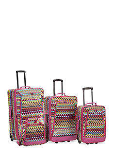 Rockland 4 Piece Printed Luggage Set - Tribal