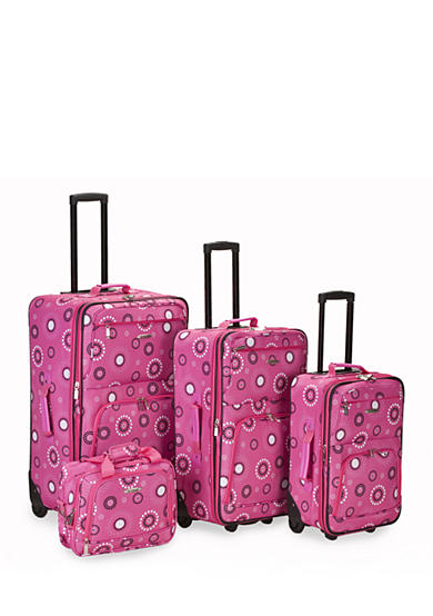 Rockland 4 Piece Printed Luggage Set - Pink Pearl