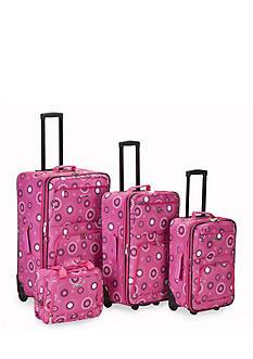 Rockland 4 Piece Printed Luggage Set - Pink Pearl
