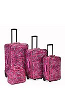 Rockland 4-Piece Printed Luggage Set - Pink