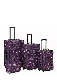Rockland 4 Piece Printed Luggage Set - Purple Pearl
