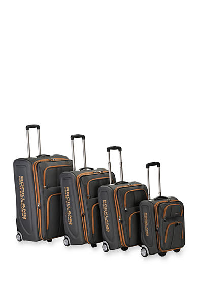 Rockland 4 Piece Varsity Rockland Polo Equipment Upright Luggage Set - Charcoal