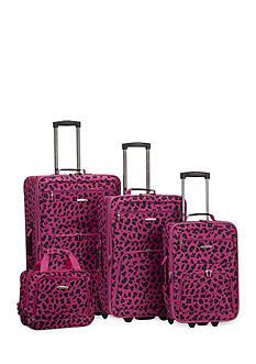 Rockland 4-Piece Printed Luggage Set - Magenta Leopard