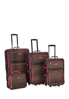 Rockland 4 Piece Printed Luggage Set - Pink Leopard