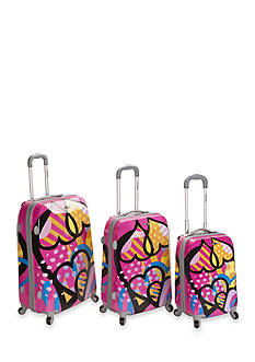 Rockland 3 Piece Vision Luggage Set - Pink Love