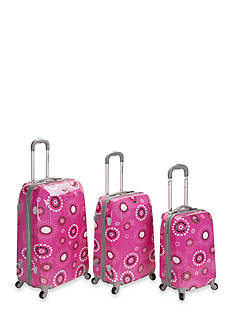 Rockland 3 Piece Vision Luggage Set - Pink Pearl