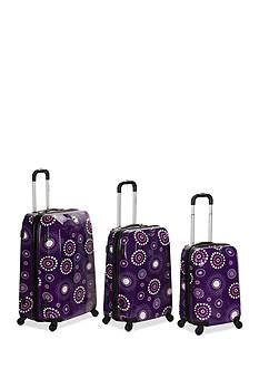 Rockland 3 Piece Vision Luggage Set - Purple Pearl