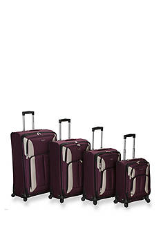 Rockland 4 Piece Impact Spinner Luggage Set - Burgundy