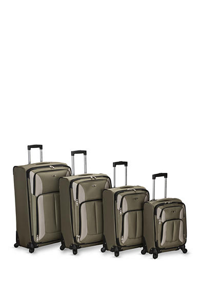 Rockland 4 Piece Impact Spinner Luggage Set - Olive