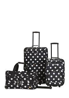 Rockland 3 Piece Luggage Set - Black Dot