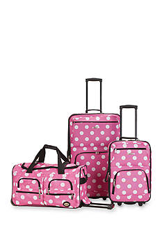 Rockland 3 Piece Luggage Set - Pink Dot