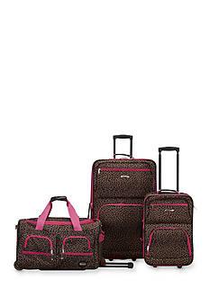Rockland 3 Piece Luggage Set - Pink Giraffe
