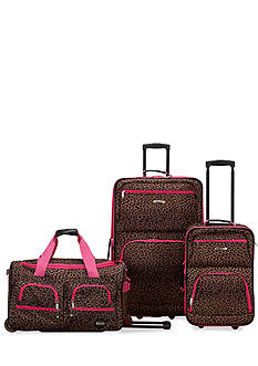 Rockland 3 Piece Luggage Set - Pink Leopard