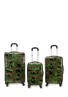 Rockland 3 Piece Safari Upright Luggage Set - Camo