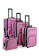 Rockland 4 Piece Luggage Set - Pink