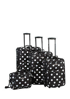 Rockland 4 Piece Luggage Set - Black Dot
