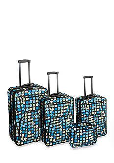 Rockland 4 Piece Luggage Set - Blue Dot