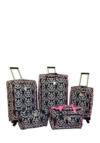 Jenni Chan™ Damask City Luggage Collection - Black Pink