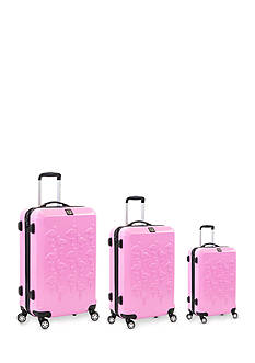 ful Three Piece Set Flamingo Hard Case Spinner Upright Luggage In Pink