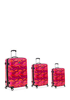 ful Three Piece Set Sunset Hard Case Spinner Upright Luggage In Orange