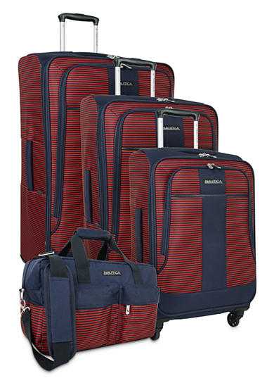 Nautica Beach Island Luggage Collection - Navy/Red