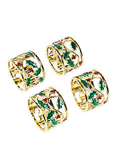 Lenox Holly & Berries Napkin Rings- Set of 4