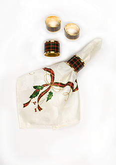 Lenox Holiday Nouveau Plaid Napkin Rings - napkins not included