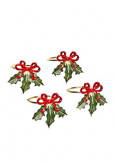 Lenox Holiday Ribbon Napkin Rings- Set of 4