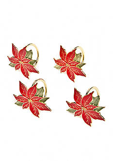 Lenox Poinsettia Napkin Rings- Set of 4