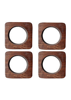Bardwil Wooden Square Napkin Rings - 4 Pack