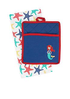 John Ritzenthaler Company Mermaid Embroidered Tea Towel & Pocket Mitt Set