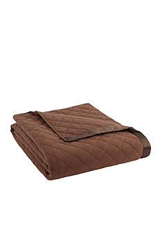 Shavel Micro Flannel Twin Chocolate Quilted Blanket