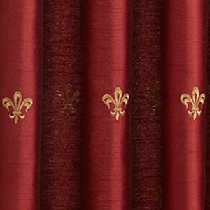 Red Curtains: Red Croscill BASTILLE UNLINED ASCOT VALANCE