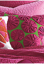 Pickstitch Pink and Green Yoyo Flower Applique Square Decorative Pillow 20-in. x 20-in.