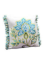 Seraphina Aqua Embroidered Square Decorative Pillow 16-in. x 16-in.