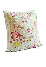 Sun Beam Multicolored Paisley Embroidered Decorative Pillow 14-in. x 14-in.